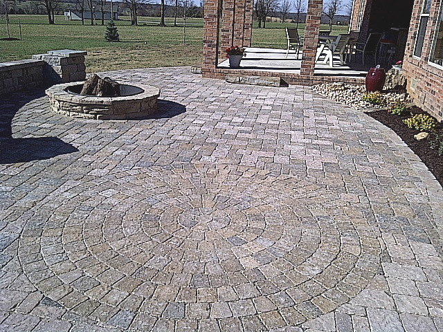 fancy stonework patio