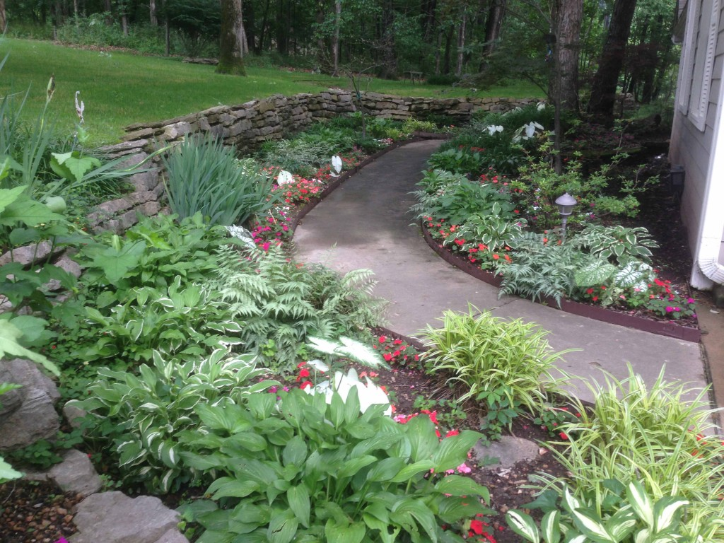 path with plantings and natural rock wall