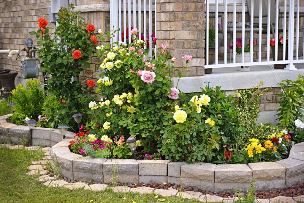 front yard garden with retaining wall